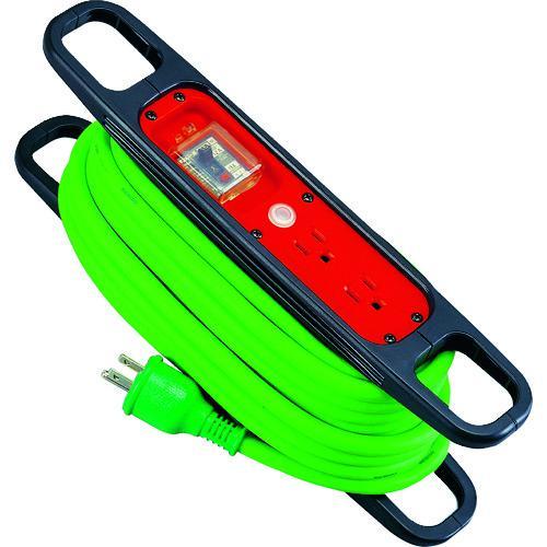 ■日動 ハンドリール 100V 3芯×10M 緑 アース過負荷漏電しゃ断器付  HR-EK102-G 【1256874:0】
