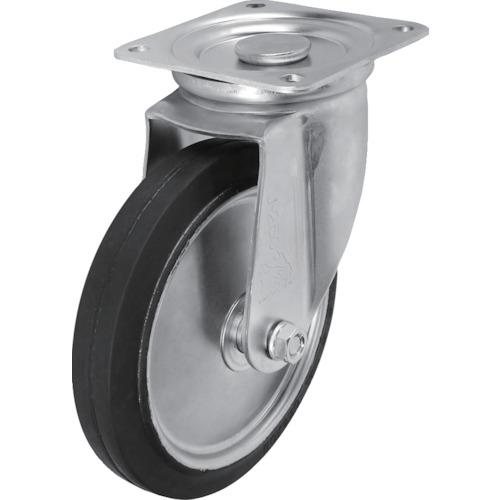 ■シシク スタンダードプレスキャスター ゴム車輪 自在 250径  〔品番:WJ-250〕【1372912:0】