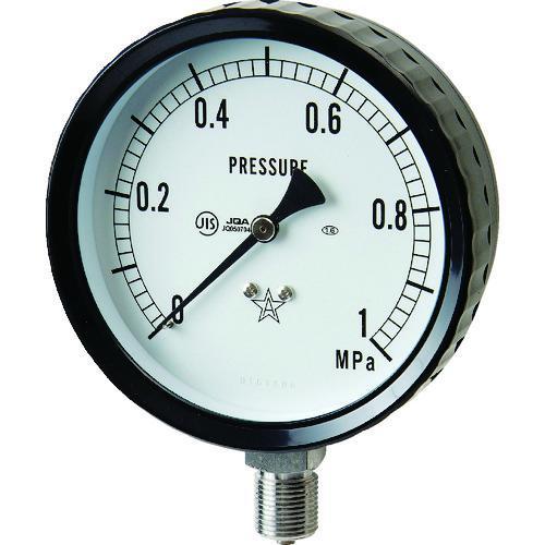 ■右下 ステンレス圧力計(A枠立型・Φ100) 圧力レンジ0~1.00MPA  G411-261-1MP 【3328201:0】