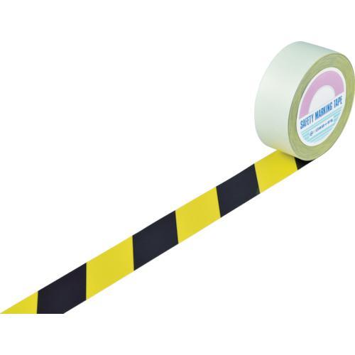 ■緑十字 ラインテープ(ガードテープ) 黄/黒 50mm幅×100m 屋内用 148062 (株)日本緑十字社【3631923:0】