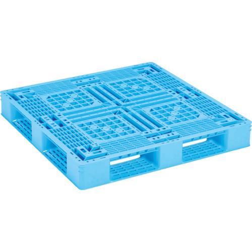 ■サンコー プラスチックパレット D4-1111-2N ライトブルー  〔品番:SK-D4-1111-2N-BLL〕直送【4923570:0】【個人宅配送不可】