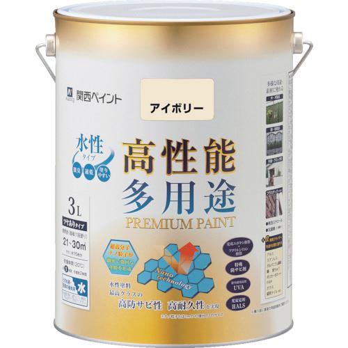 ■KANSAI プレミアム水性塗料 3L アイボリー 4缶入 〔品番:603-007-3〕掲外取寄【8179430×4:0】