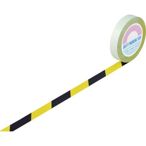 ■緑十字 ガードテープ(ラインテープ) 黄/黒(トラ柄) 25mm幅×100m 148022 (株)日本緑十字社【8353724:0】