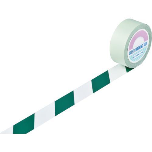 ■緑十字 ガードテープ(ラインテープ) 白/緑(トラ柄) 50mm幅×100m 148064 (株)日本緑十字社【8353741:0】