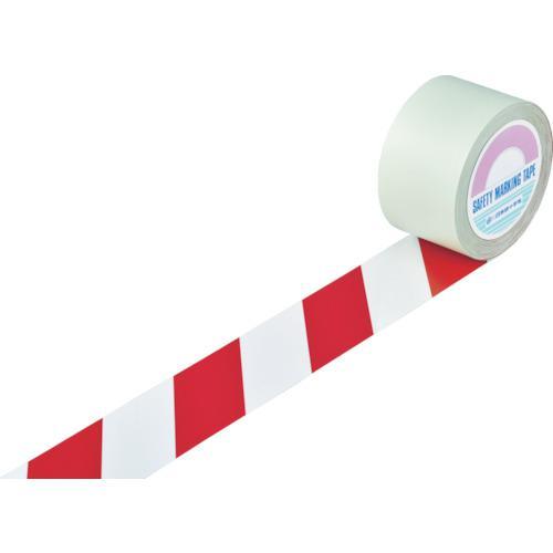 ■緑十字 ガードテープ(ラインテープ) 白/赤(トラ柄) 75mm幅×100m 148103 (株)日本緑十字社【8353755:0】