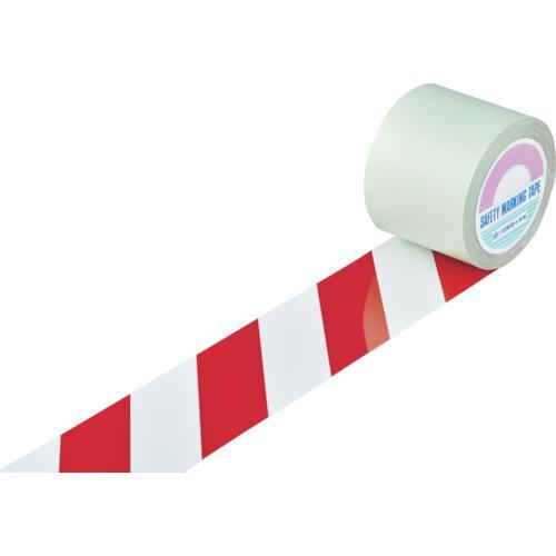 ■緑十字 ガードテープ(ラインテープ) 白/赤(トラ柄) 100mm幅×100m 148143 (株)日本緑十字社【8353775:0】