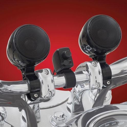 【BIG BIKE PARTS】ブルートゥース対応 ハンドルマウント防水スピーカーシステム ブラック