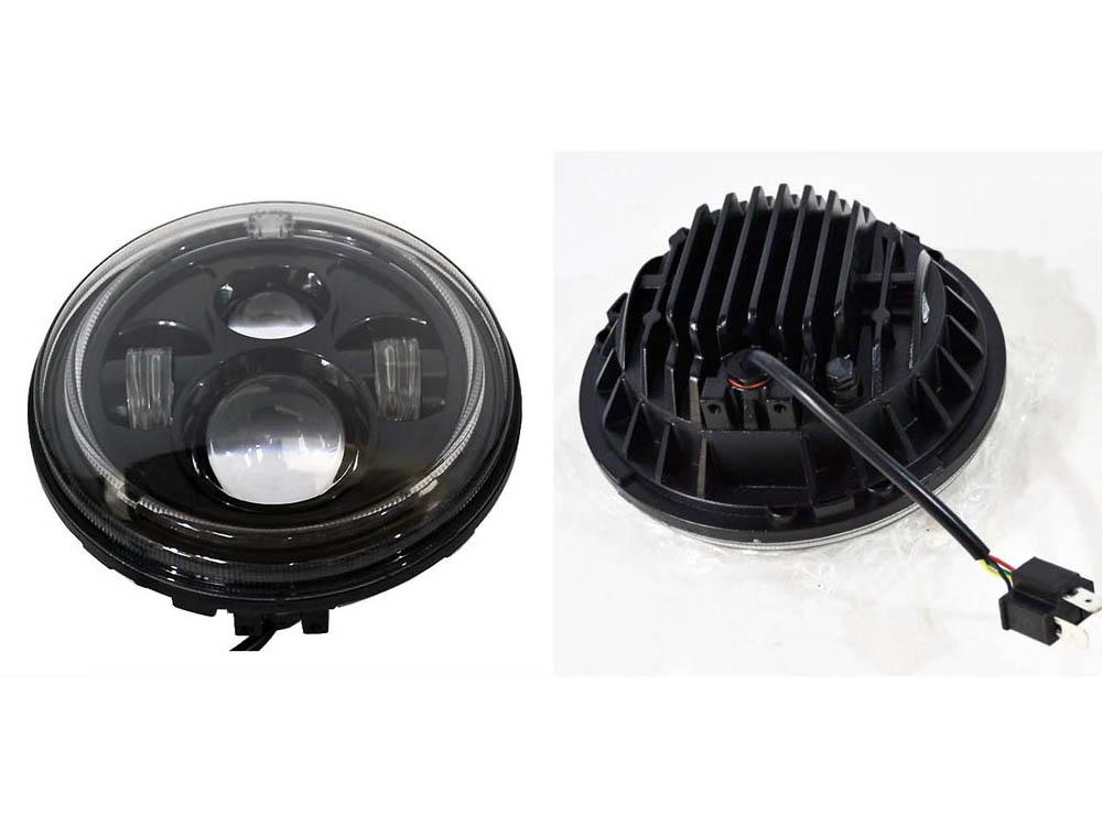 LED 7インチ・プロジェクターヘッドライト ブラック、リングLED付き FLソフテイル用