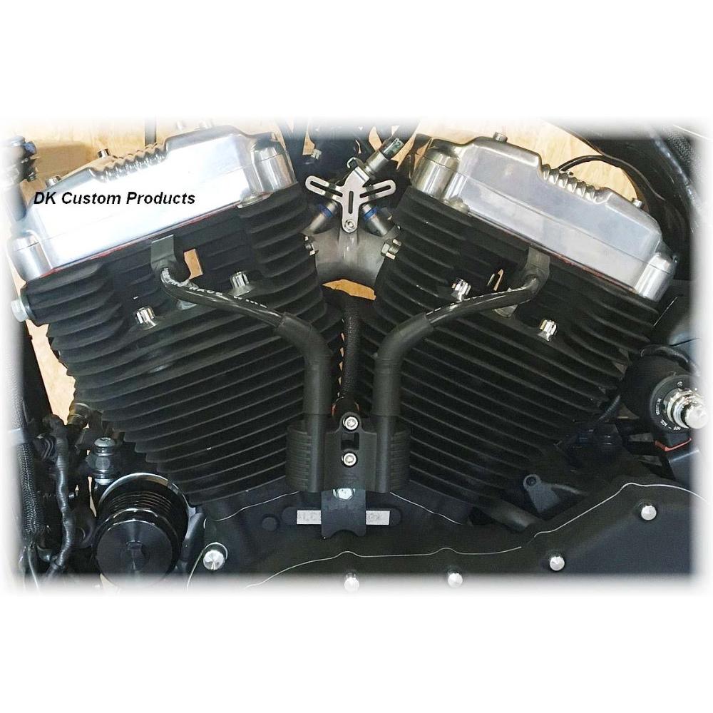Dk Custom イグニッション Vコイル移設、ブラックプラグコードキット 2007~2020 スポーツスター