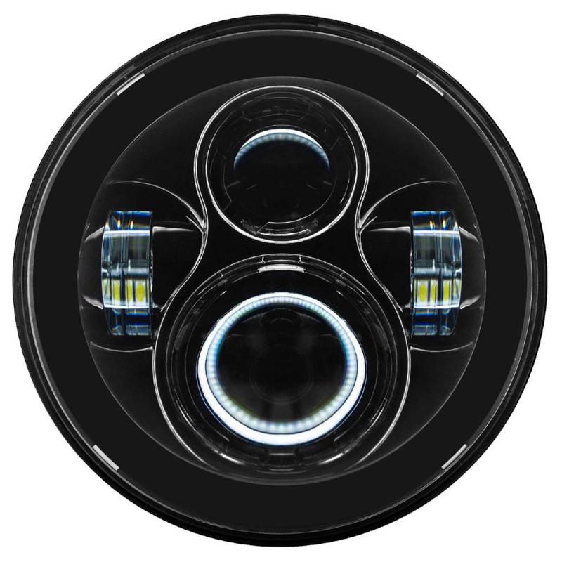 HOGWORKZ LED 7インチ・ヘッドライト ブラック ツーリングモデル、FLソフテイル,FLD用