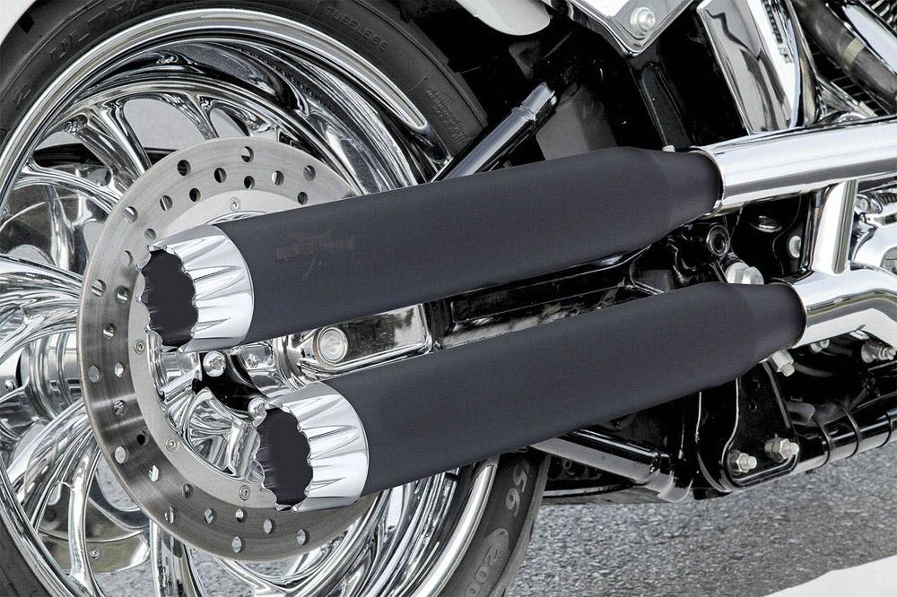 RCX Excalibur 3インチ スリップオンマフラー ブラック/クローム スポーツスター ダイナ ソフテイル