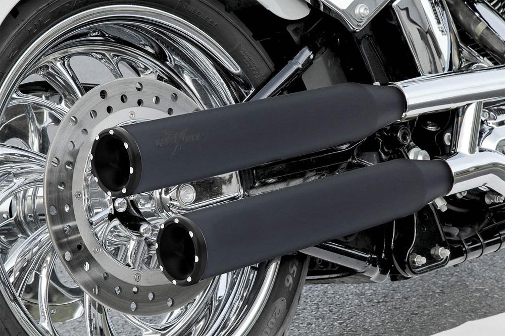 RCX Rival Shorty 3インチ スリップオンマフラー ブラック/ブラック スポーツスター ダイナ ソフテイル
