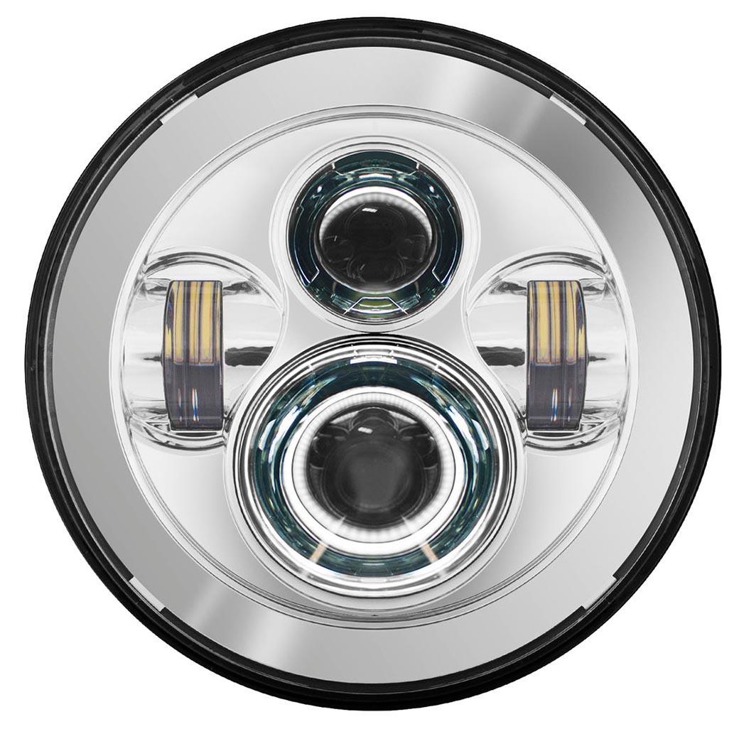 HOGWORKZ LED 7インチ・ヘッドライト クローム ツーリングモデル、FLソフテイル,FLD用