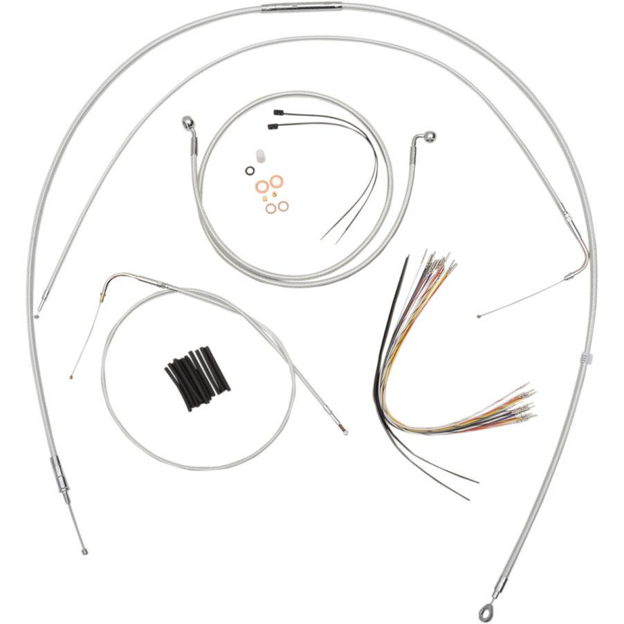 Magnum エイプハンドル用 ステンメッシュ ケーブルラインキット シルバー 2000~2006 FLソフテイル