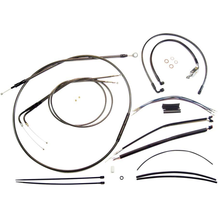 Magnum エイプハンドル用 ステンメッシュ ケーブルラインキット ブラックパール 2014~2018 XL ABS有り