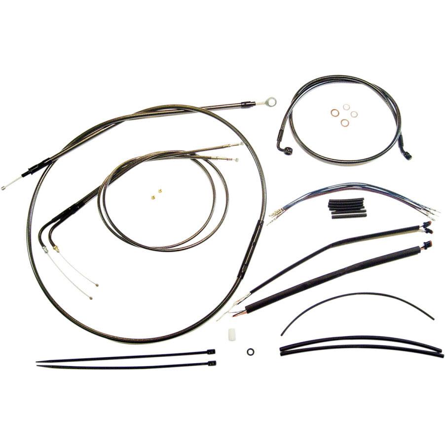 Magnum エイプハンドル用 ステンメッシュ ケーブルラインキット ブラックパール 2011~2014 ソフテイル ABS無し