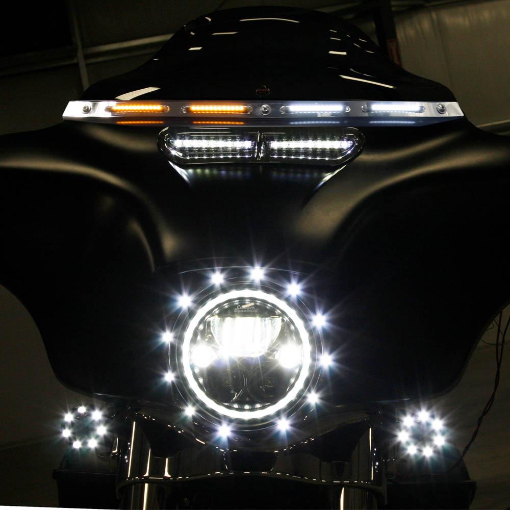 【カスタムダイナミクス】 LED ウインドシールドトリム クローム 2014~2020 FLHT/X、FLHTCUTG 2350-0405