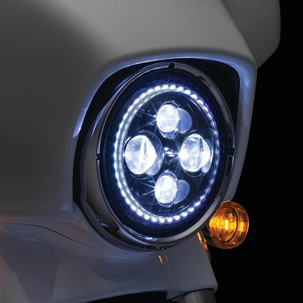 Kuryakyn Orbit Vision 7インチLEDヘッドライト ホワイトHALOリング