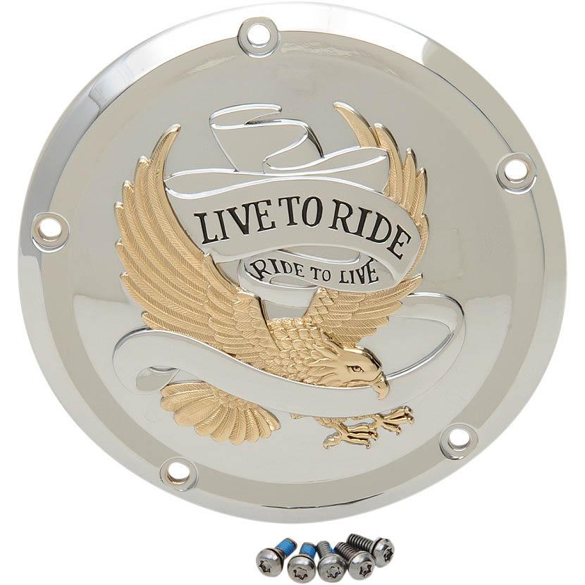 【ドラッグSP】 Live To Ride ダービーカバー ゴールド 2016~2020 ツーリング 1107-0555
