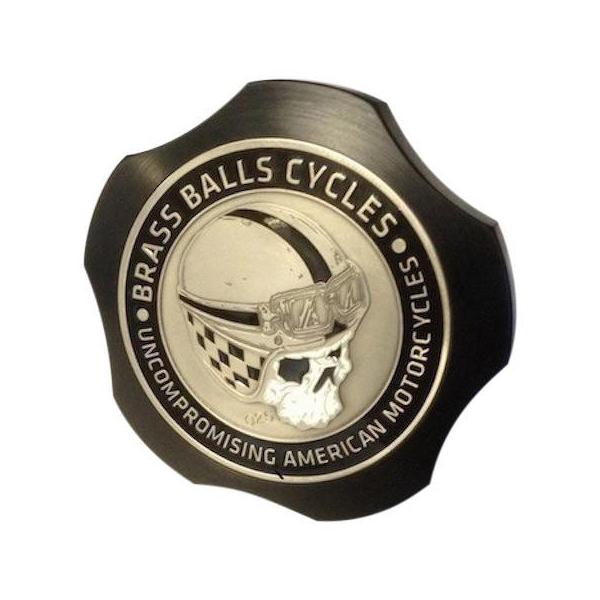 【Brass Balls Cycles】 CHALLENGE COIN FUEL CAP ブラック 1983~2020 ハーレー全車種 BB06-991