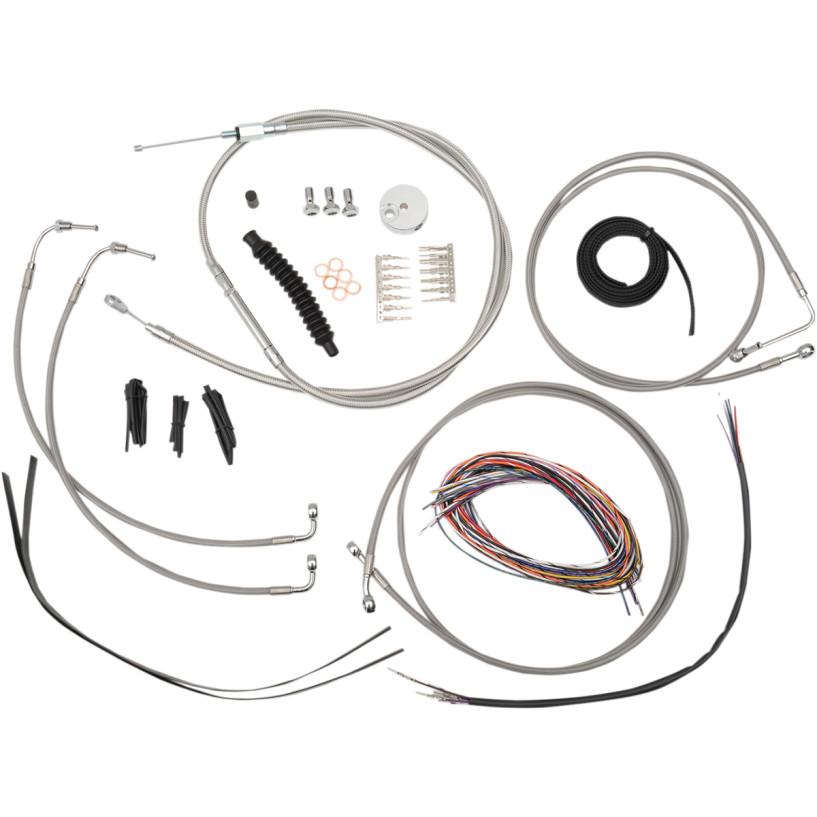 【LAチョッパーズ】0610-1236/0610-1238/0610-1240/0610-1242 ステンレス ケーブル&ブレーキラインキット エイプハンドルバー用 2008~2013 FLHT/C/CU/K、FLHR、FLHX ABS付き