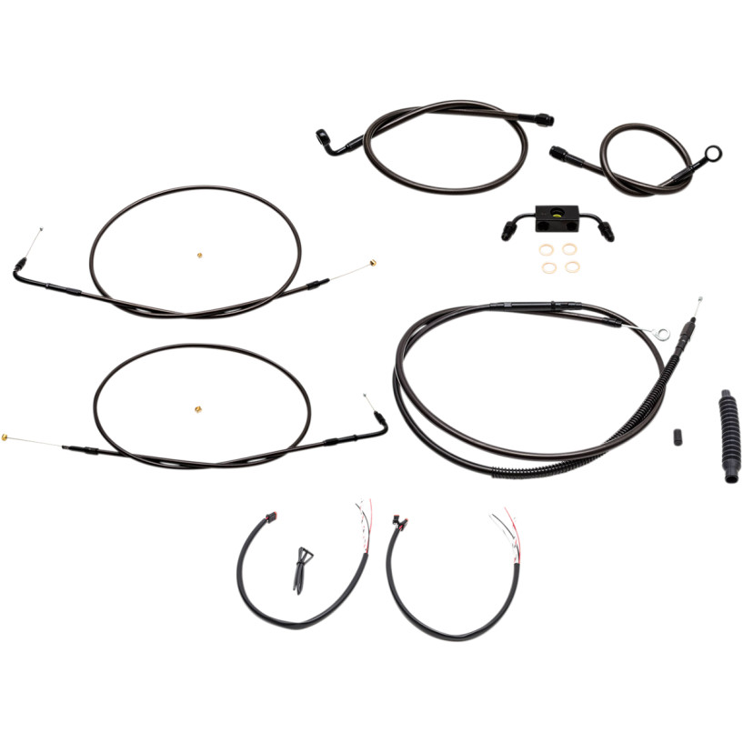 【LAチョッパーズ】0610-1861/0610-1864/0610-1867 ミッドナイト ケーブル&ブレーキラインキット エイプハンドルバー用 2014~2020 スポーツスター ABS搭載