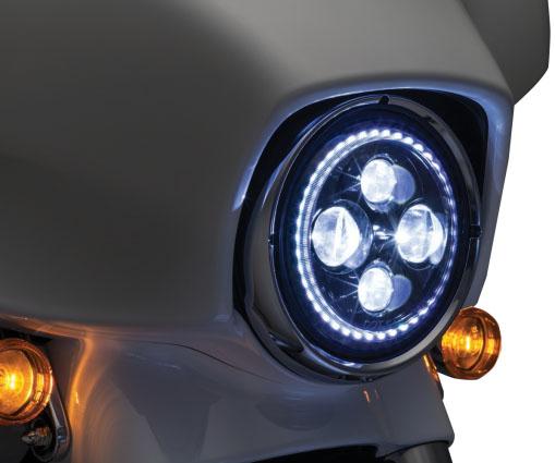 2460:Kuryakyn Orbit Vision 7インチLEDヘッドライト ホワイトHALOリング