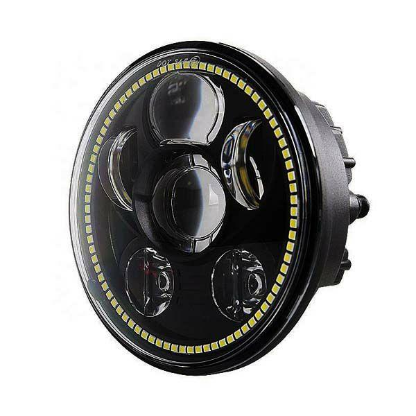 プロジェクターLED 5-3 4インチ ヘッドライト 激安通販専門店 LEDリング 年間定番 MS-0057D-B スポーツスター等 ブラック 2004~2020