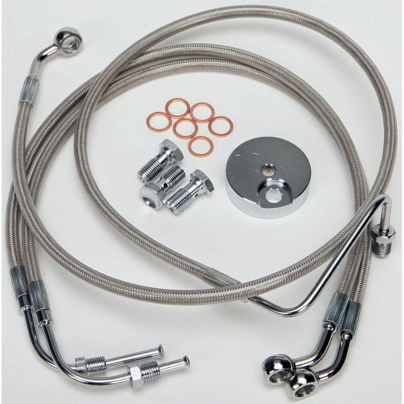 【ハード ドライブ】2インチプラス・ブレーキラインキット シルバー 1996~2007 FLTR、FLHR 820-3097C
