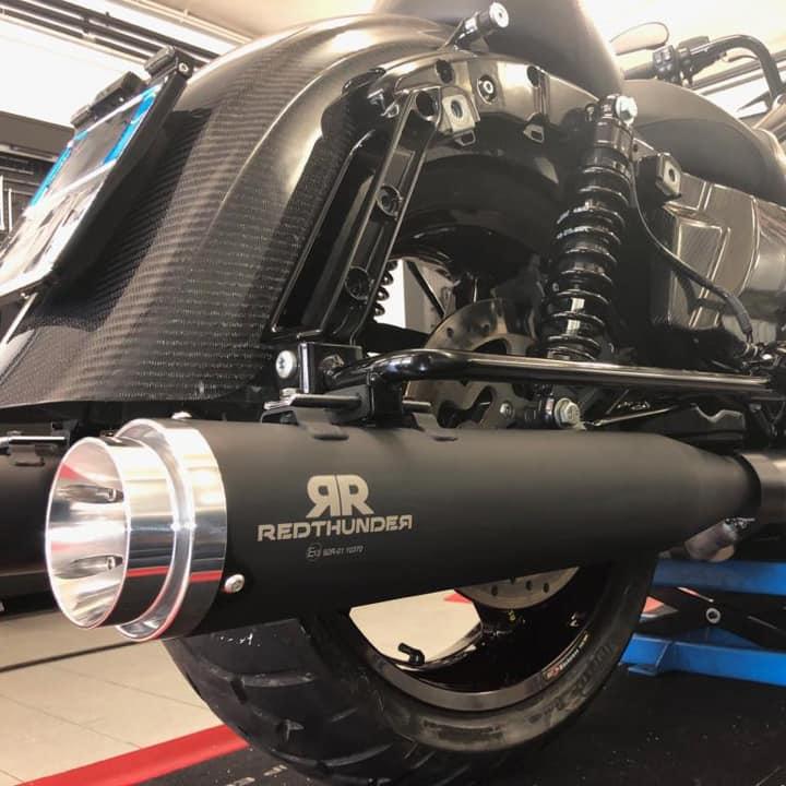 【レッドサンダー】64003TOB スリップオンマフラー セラミックブラック 1999~2016 ツーリング