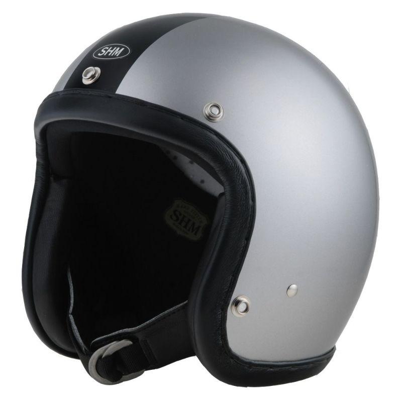 【SHM】SEL-HSHH102-DB HAND STITCH ジェットヘルメット ダークシルバー/ブラック