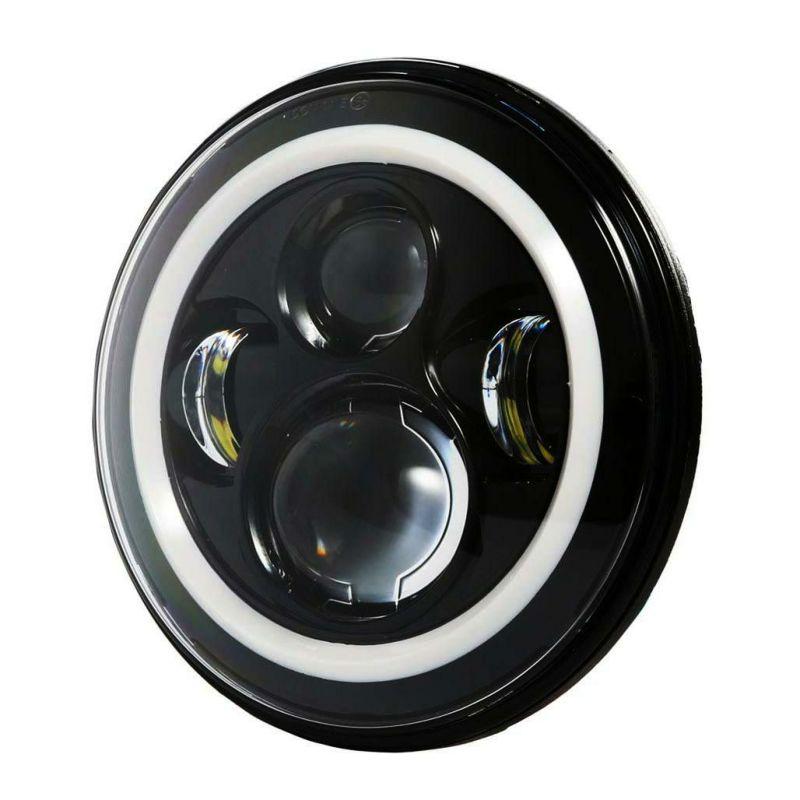 【World Motor Works】7インチLEDヘッドライト ホワイトHALOリング ブラック