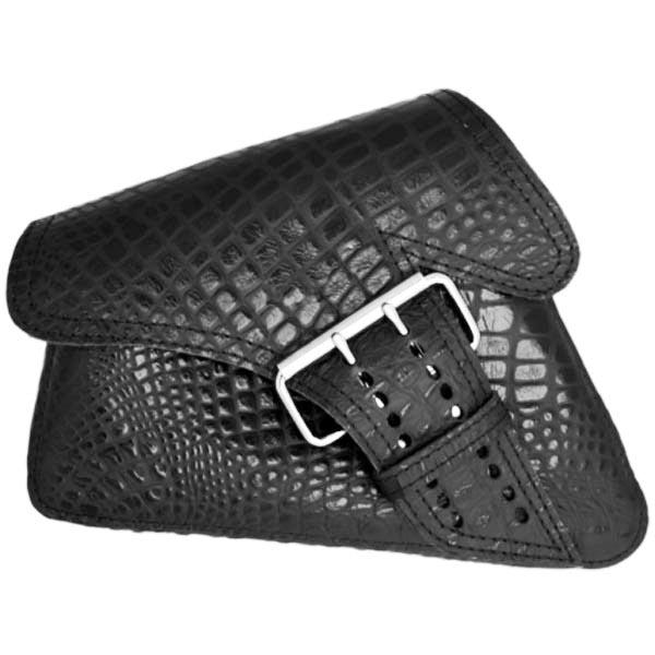 【La Rosa Design】シングルベルト・スイングアームバッグ(本革) ブラック・アリゲーターエンボス