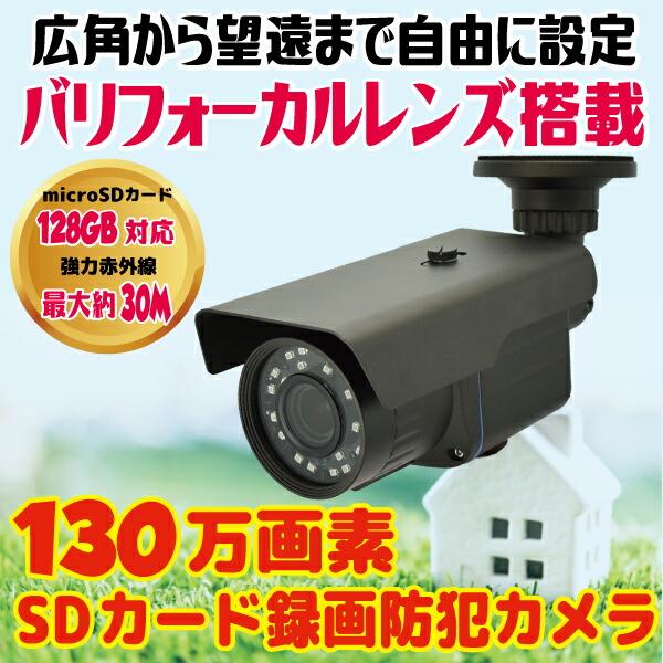 家庭用 防犯カメラ SDカード録画 屋外対応 130万画素 128GB対応 バリフォーカルレンズ 望遠 広角 CK-700VF