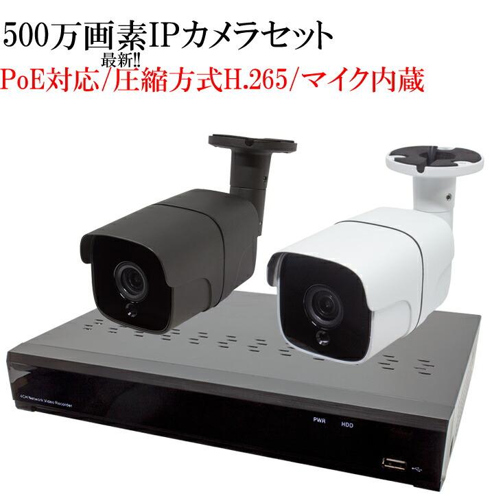 【500万画素】【高圧縮H265採用】次世代高解像度 防犯カメラ 3台セット 監視カメラ 遠隔監視可能 防犯録画機 NVR レコーダー IPカメラ PoE給電 HDD2TB付き HDC-500IPC01 WTW-NV4044FP WTW-PRP178GJA WTW-PRP180GJA