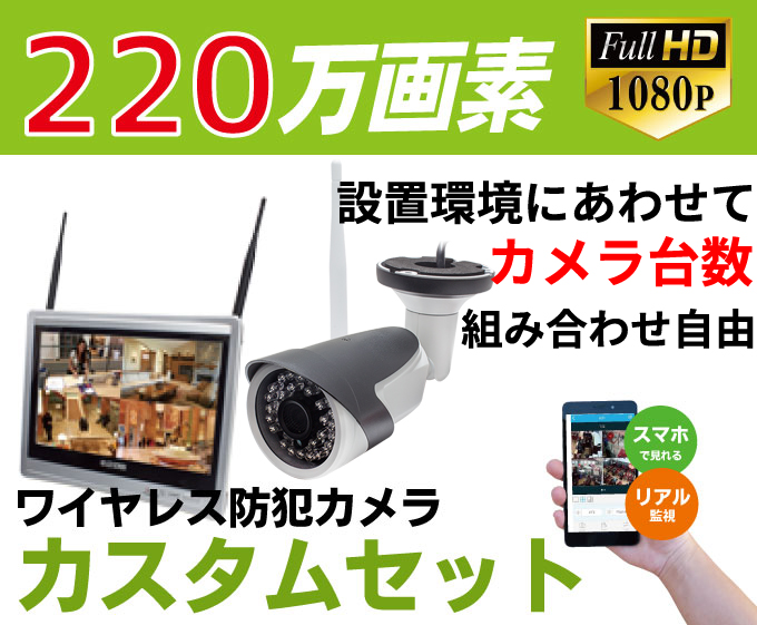 防犯カメラ 監視カメラ ワイヤレス 220万画素 ワイヤレス防犯カメラ WI-FI環境対応 台数自由 1台~4台セット HDC-EGR01 イーグル NVR WTW-EGR25HEAW