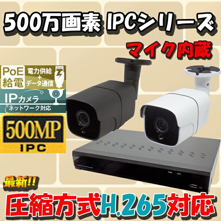 【500万画素】【高圧縮H265採用】次世代高解像度 防犯カメラ 監視カメラ 遠隔監視可能 防犯録画機 NVR レコーダー IPカメラ PoE給電 HDD2TB付き HDC-500IPC01 WTW-NV4044FP WTW-PRP178GJA WTW-PRP180GJA