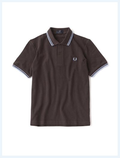 FRED PERRY フレッドペリー / ラインポロシャツ(M12N) Chocolate x Ice x Ice -国内送料無料-