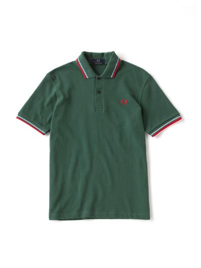 FRED PERRY フレッドペリー / ラインポロシャツ(M12N) Tartan Green x Ice x Red -国内送料無料-