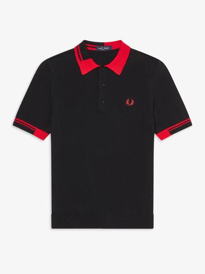 FRED PERRY フレッドペリー / アブストラクトティップドニットポロシャツ(K8516) Black -国内送料無料-