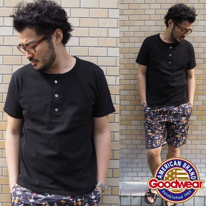 GOODWEAR グッドウェア ヘンリーネックスリムTシャツ 3colors (GDW-210-263) SS15MTT STDメンズ Tシャツ 無地 トップス 半袖 ボタン カジュアル アメカジ シンプル