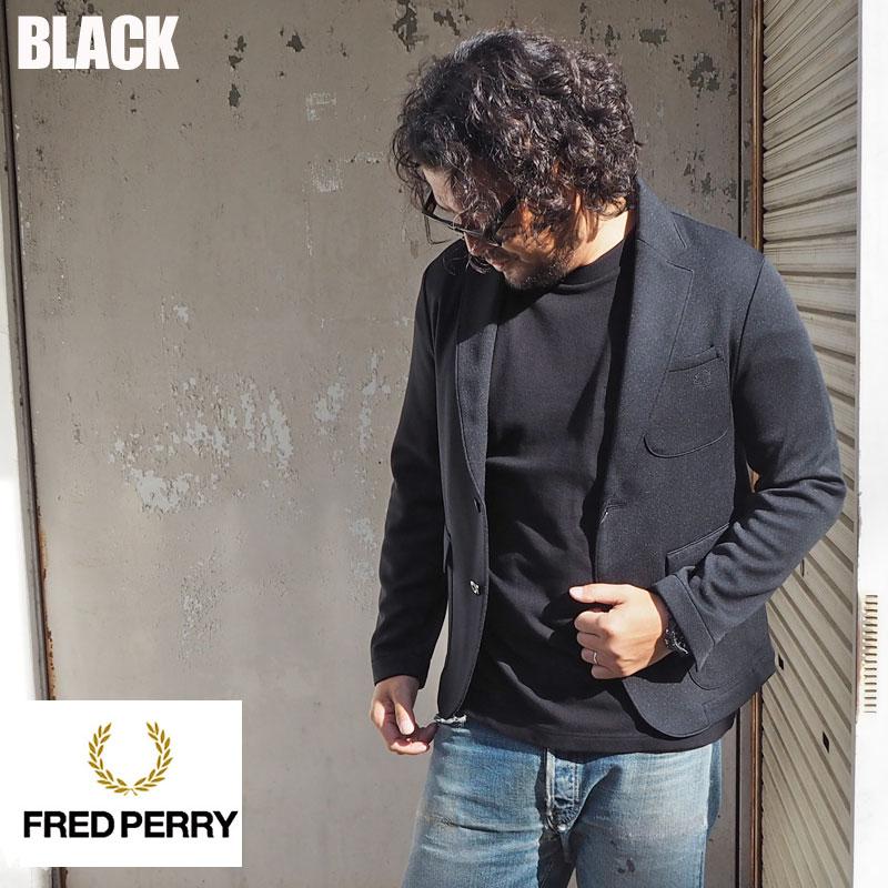 FRED PERRY フレッドペリー ジャケット テーラード ジャージ TAILORED JERSEY F2543 メンズ テーラー インポート セットアップ ジャージ素材 ワンポイント ブラック 黒 アメカジ シンプル 無地 きれいめ