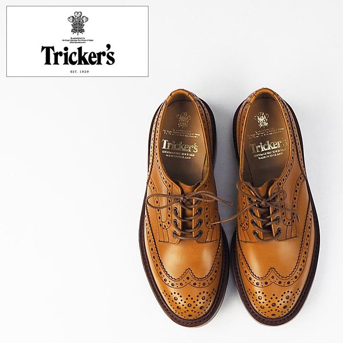 Tricker's トリッカーズ 革靴 ウイングチップシューズM7292 BOURTON バートン Trickers ウイングチップ カントリー レザーシューズ 英国製 本革 メンズ シューズ 短靴 ブーツ ダイナイトソール メダリオン Britain カントリーシューズ 牛革 マロン ブラック