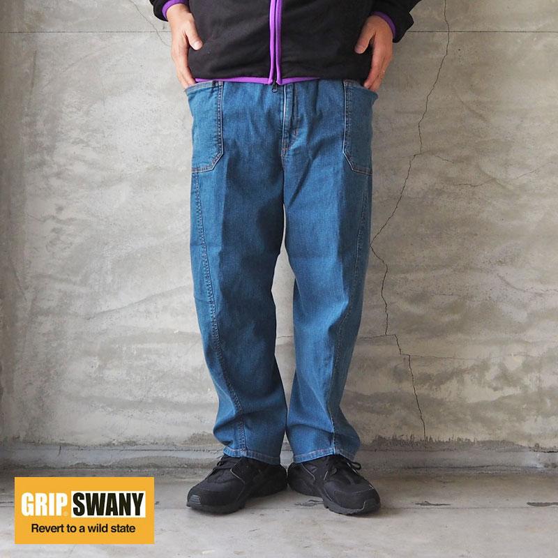 GRIP SWANY グリップスワニー キャンプパンツ デニムJOG 3D WIDE CAMP PANTS GSP-59 メンズ レディース ワイド パンツ ジーンズ ワイドパンツ キャンプ アウトドア イージー ストレッチ ジョグ ワーク キャンパー アメカジ