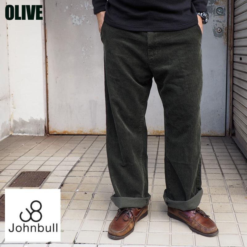 Johnbull ジョンブル ワイド コーデュロイ トラウザーパンツ 21139 メンズ パンツ トラウザー ワイドパンツ ゆったり pants 日本製 国産 岡山 児島 アメカジ ブリック オリーブ