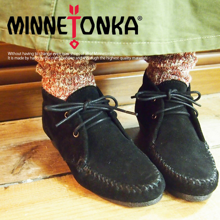 MINNETONKA ミネトンカ チャッカウェッジブーティ 2colors (373-379) AW14Z レディース チェッカ ウェッジ ブーティ ブーツ 靴 カジュアル ナチュラル 大人カジュアル 紐 牛革 スウェード 6 7 8 シンプル お洒落