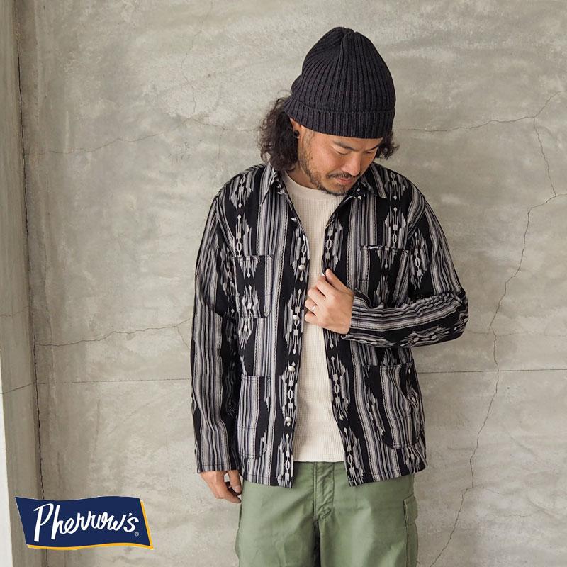 PHERROW'S フェローズ カバーオール 20S-PCOS1 シャツジャケット 長袖 シャツ ラグ柄 ジャガード ネイティブ 長袖シャツ オルテガ アメカジ コンチョ 日本製 国産 黒