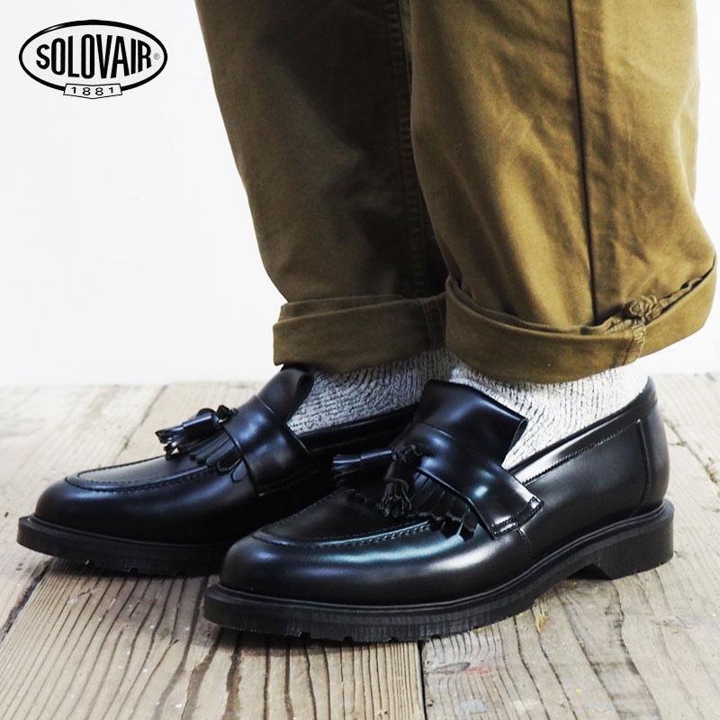 SOLOVAIR ソロヴェアー TASSEL LOAFER ローファー 0-822-17 SS17Z タッセル シューズ 靴 プレーントゥシューズ ブラック メンズシューズ ブーツ カジュアル ビジネス 紳士靴 短靴 ソロベアー グッドイヤー