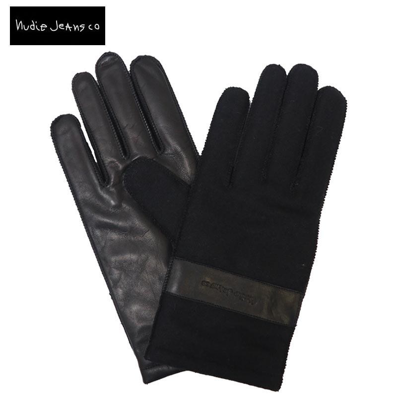 【メール便可】Nudie Jeans ヌーディージーンズ ARVIDSSON 手袋 46161-7003 レザーグローブ ウール 本革 牛革 メンズ ブラック