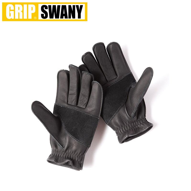 GRIP SWANY グリップスワニー グローブ メンズパンチンググローブ G-4B手袋 パンチングモデル アウトドア、ライディング 春夏 黒 ブラック 日本製 牛革 ケプラ M L